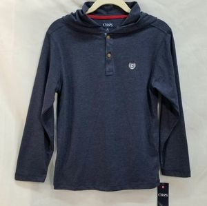 NWT Boys Chaps Navy Blue Colonel Hooded Tee (Med)